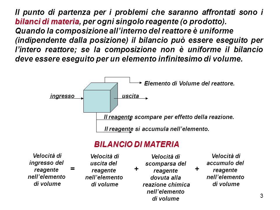 3 bilanci di materia Il punto di partenza per i problemi che saranno affrontati sono i bilanci di materia, per ogni singolo reagente (o prodotto).