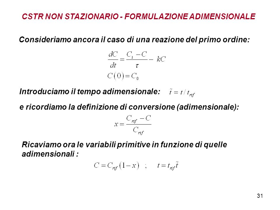 31 Consideriamo ancora il caso di una reazione del primo ordine: Introduciamo il tempo adimensionale: e ricordiamo la definizione di conversione (adimensionale): Ricaviamo ora le variabili primitive in funzione di quelle adimensionali : CSTR NON STAZIONARIO - FORMULAZIONE ADIMENSIONALE