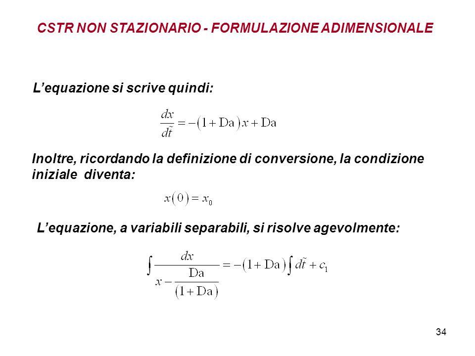 34 Inoltre, ricordando la definizione di conversione, la condizione iniziale diventa: Lequazione si scrive quindi: Lequazione, a variabili separabili, si risolve agevolmente: CSTR NON STAZIONARIO - FORMULAZIONE ADIMENSIONALE