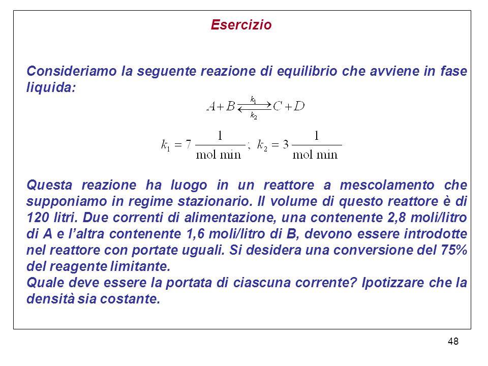 48 Esercizio Consideriamo la seguente reazione di equilibrio che avviene in fase liquida: Questa reazione ha luogo in un reattore a mescolamento che supponiamo in regime stazionario.