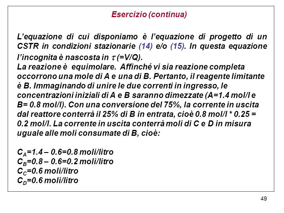 49 Esercizio (continua) Lequazione di cui disponiamo è lequazione di progetto di un CSTR in condizioni stazionarie (14) e/o (15). In questa equazione