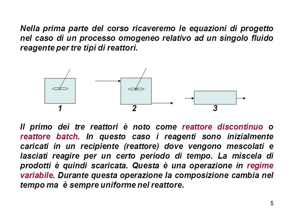 5 Nella prima parte del corso ricaveremo le equazioni di progetto nel caso di un processo omogeneo relativo ad un singolo fluido reagente per tre tipi
