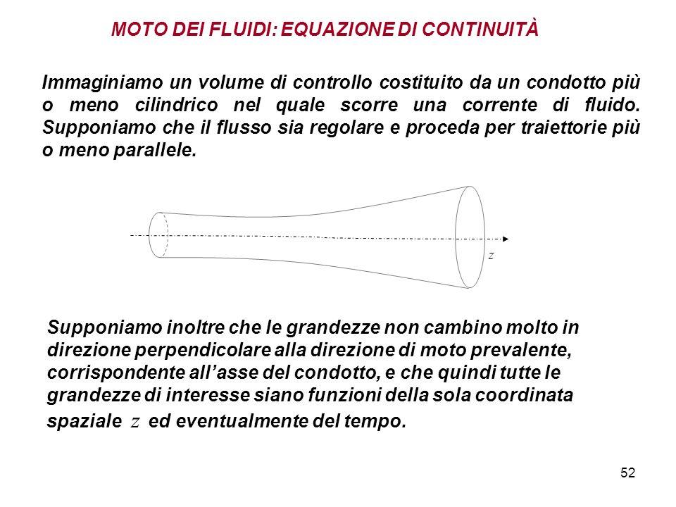 52 MOTO DEI FLUIDI: EQUAZIONE DI CONTINUITÀ z Immaginiamo un volume di controllo costituito da un condotto più o meno cilindrico nel quale scorre una corrente di fluido.
