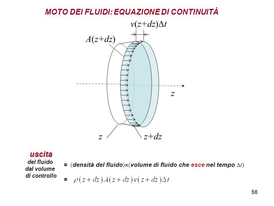 56 z MOTO DEI FLUIDI: EQUAZIONE DI CONTINUITÀ v(z+dz) t A(z+dz)uscita del fluido dal volume di controllo = ( densità del fluido ) ( volume di fluido che esce nel tempo t) = z+dzz