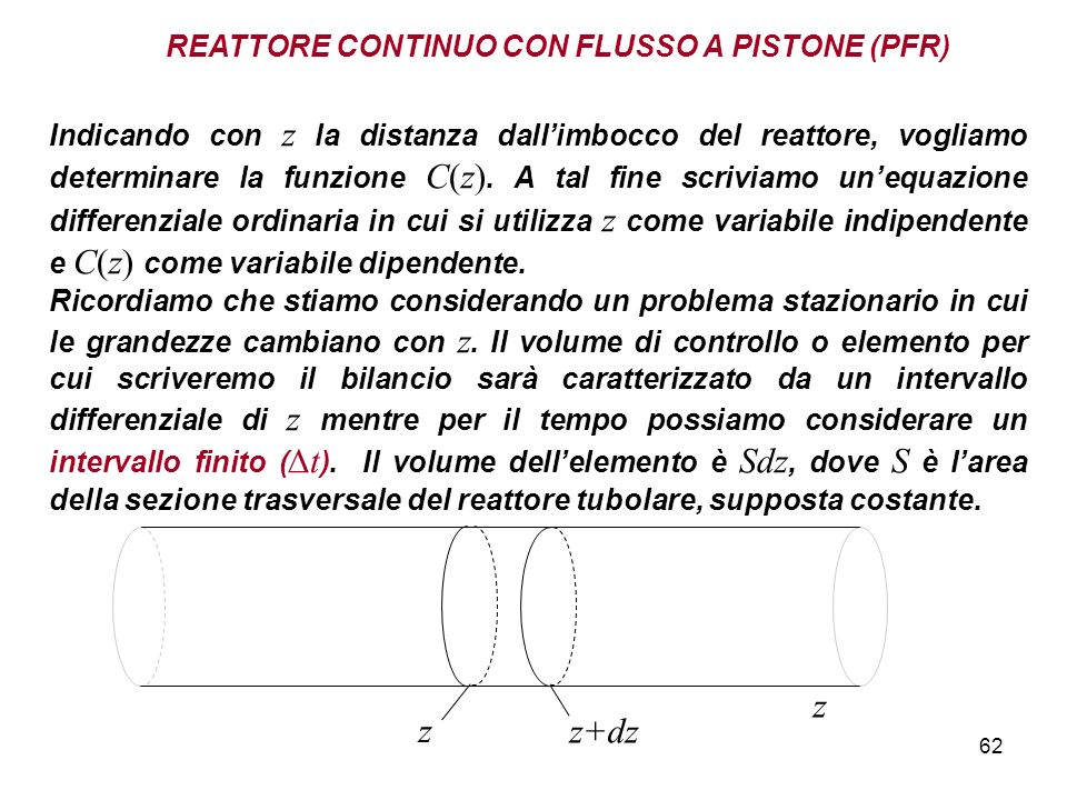 62 REATTORE CONTINUO CON FLUSSO A PISTONE (PFR) Indicando con z la distanza dallimbocco del reattore, vogliamo determinare la funzione C(z).