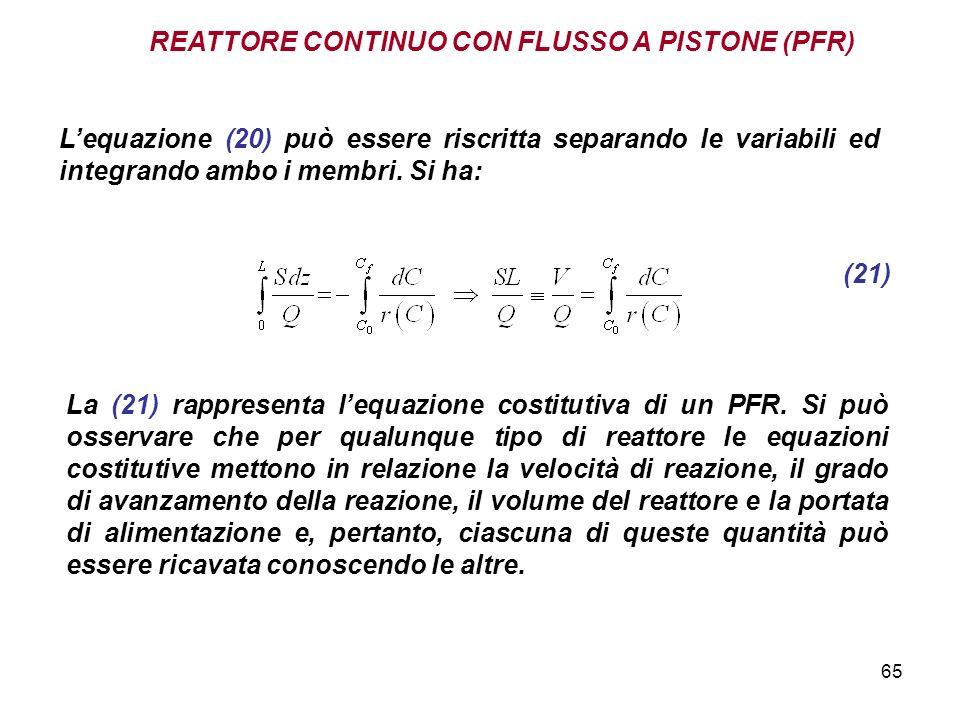 65 REATTORE CONTINUO CON FLUSSO A PISTONE (PFR) Lequazione (20) può essere riscritta separando le variabili ed integrando ambo i membri. Si ha: (21) L