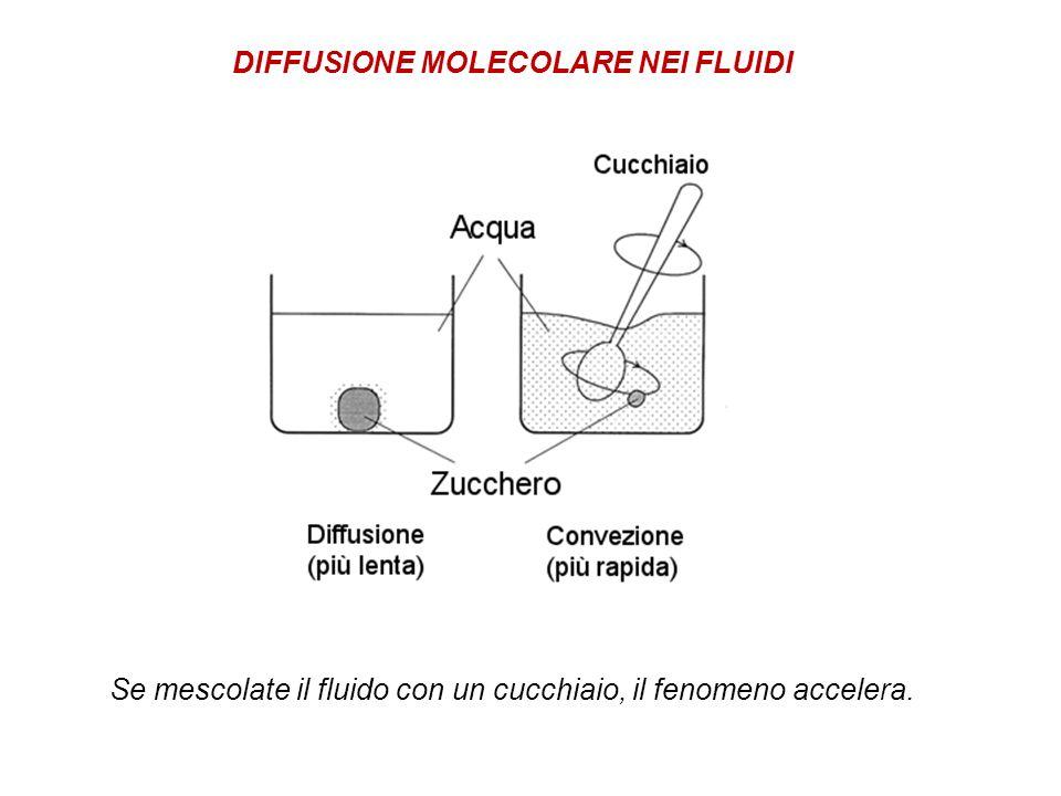 Se mescolate il fluido con un cucchiaio, il fenomeno accelera. DIFFUSIONE MOLECOLARE NEI FLUIDI
