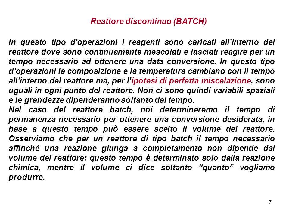 118 Lequazione (20) si trasforma così: Questa equazione scritta per un reattore PFR è formalmente identica a quella che avevamo ricavato per un reattore BATCH, anche se le variabili che vi compaiono hanno un senso fisico diverso.