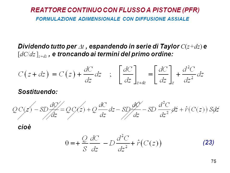 75 Dividendo tutto per t, espandendo in serie di Taylor C(z+dz) e [dC/dz ] z+dz, e troncando ai termini del primo ordine: Sostituendo: cioè (23) REATTORE CONTINUO CON FLUSSO A PISTONE (PFR) FORMULAZIONE ADIMENSIONALE CON DIFFUSIONE ASSIALE
