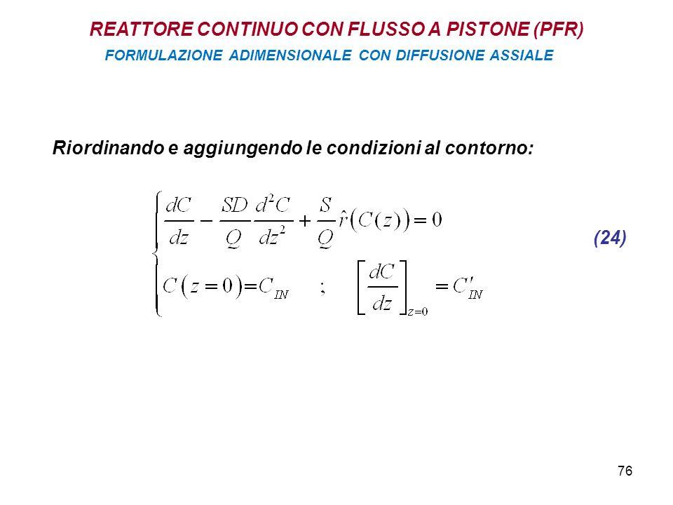 76 Riordinando e aggiungendo le condizioni al contorno: (24) REATTORE CONTINUO CON FLUSSO A PISTONE (PFR) FORMULAZIONE ADIMENSIONALE CON DIFFUSIONE ASSIALE