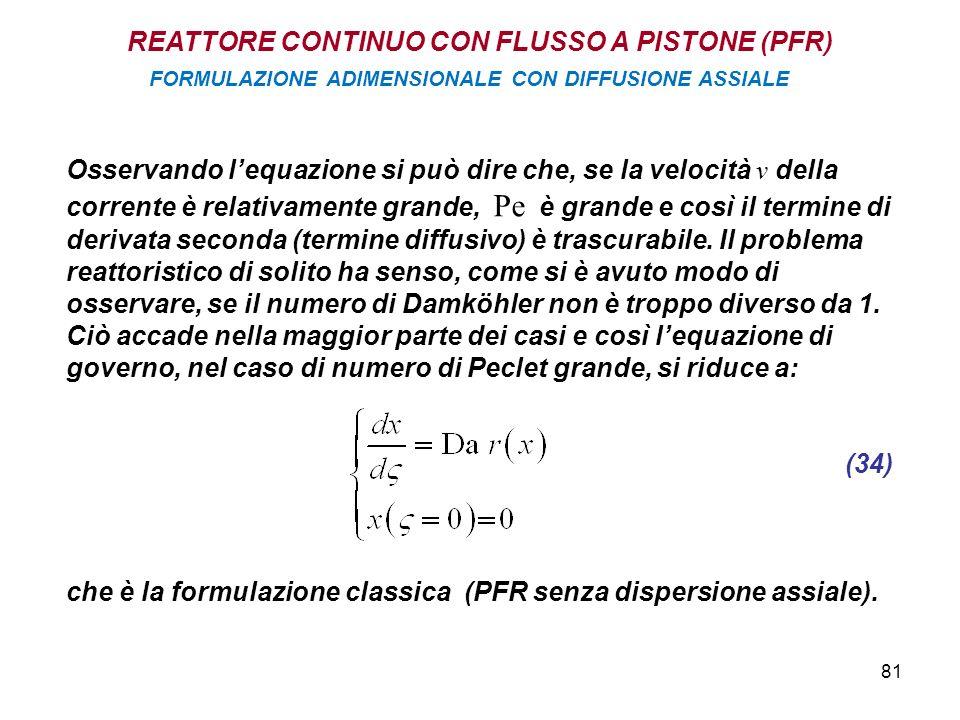 81 Osservando lequazione si può dire che, se la velocità v della corrente è relativamente grande, Pe è grande e così il termine di derivata seconda (termine diffusivo) è trascurabile.