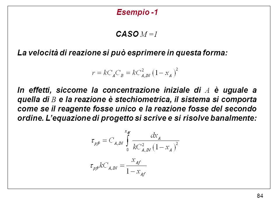 84 Esempio -1 CASO M =1 La velocità di reazione si può esprimere in questa forma: In effetti, siccome la concentrazione iniziale di A è uguale a quella di B e la reazione è stechiometrica, il sistema si comporta come se il reagente fosse unico e la reazione fosse del secondo ordine.
