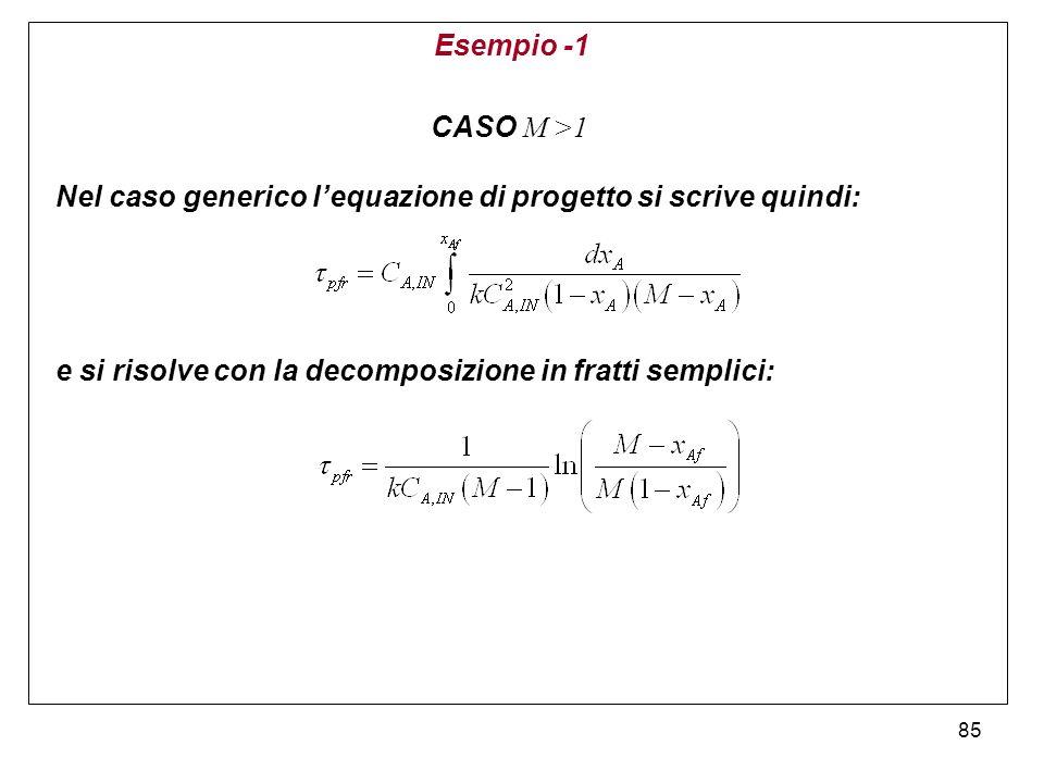 85 Esempio -1 CASO M >1 Nel caso generico lequazione di progetto si scrive quindi: e si risolve con la decomposizione in fratti semplici:
