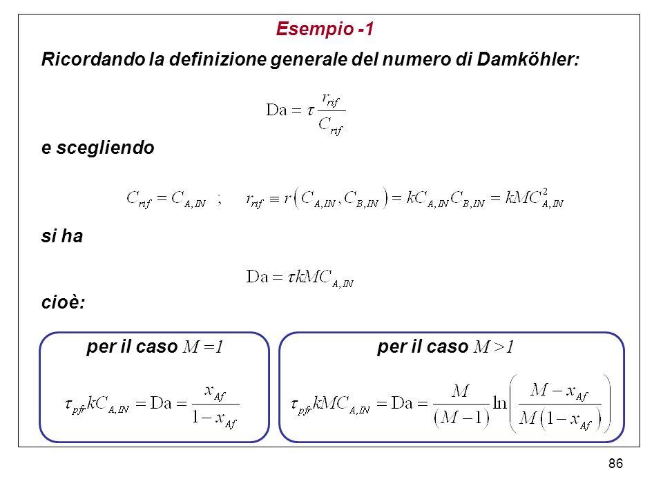 86 Esempio -1 Ricordando la definizione generale del numero di Damköhler: e scegliendo si ha cioè: per il caso M =1 per il caso M >1