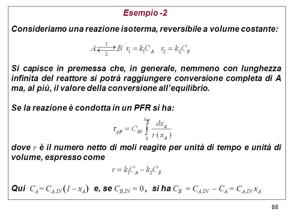 88 Esempio -2 Consideriamo una reazione isoterma, reversibile a volume costante: Si capisce in premessa che, in generale, nemmeno con lunghezza infinita del reattore si potrà raggiungere conversione completa di A ma, al più, il valore della conversione allequilibrio.