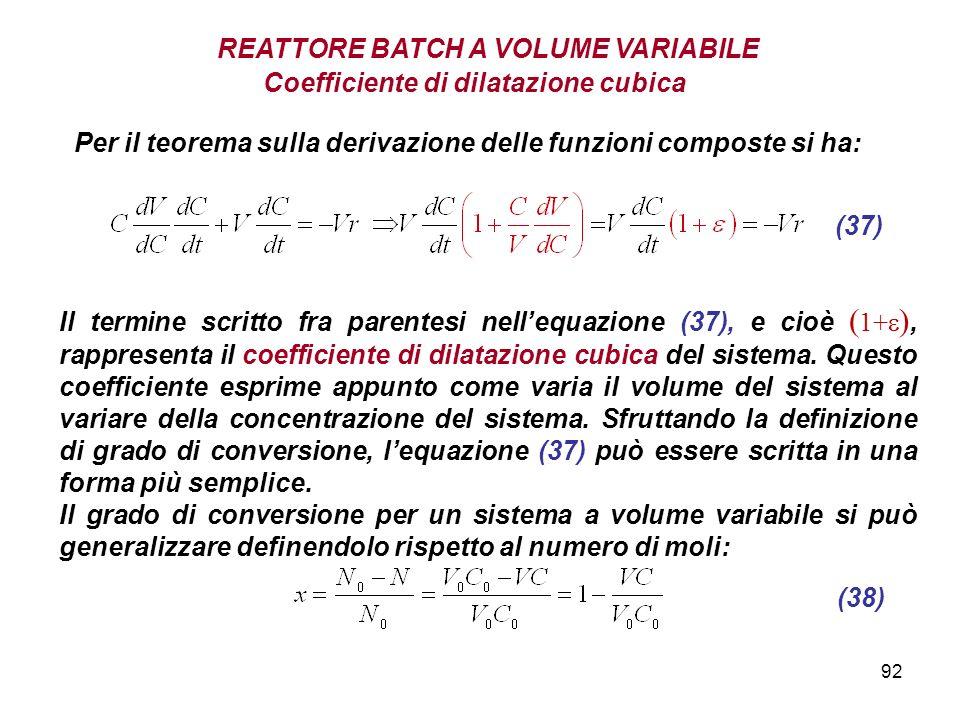 92 Coefficiente di dilatazione cubica Per il teorema sulla derivazione delle funzioni composte si ha: (37) Il termine scritto fra parentesi nellequazione (37), e cioè ( 1+ ), rappresenta il coefficiente di dilatazione cubica del sistema.