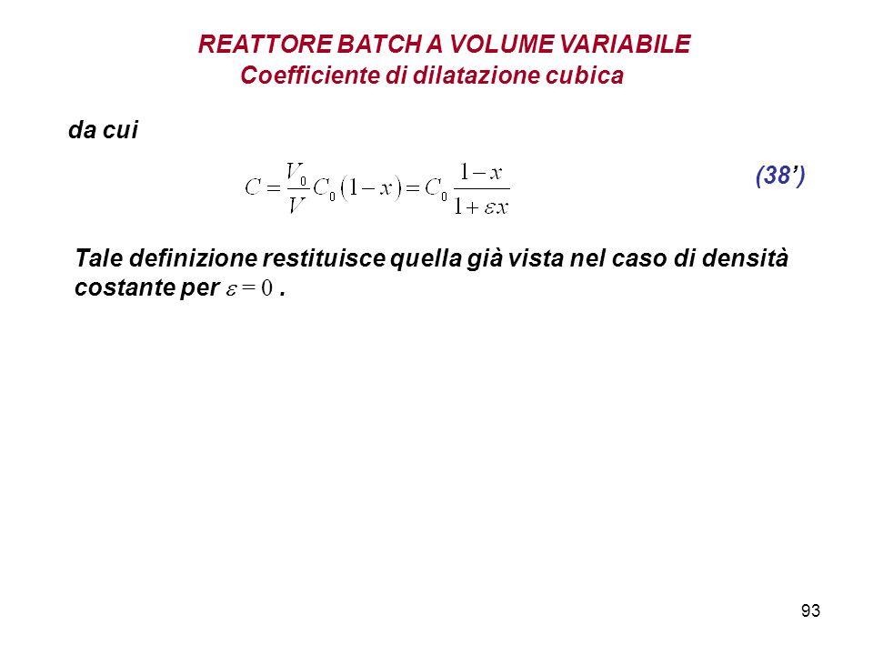 93 Coefficiente di dilatazione cubica (38) REATTORE BATCH A VOLUME VARIABILE da cui Tale definizione restituisce quella già vista nel caso di densità