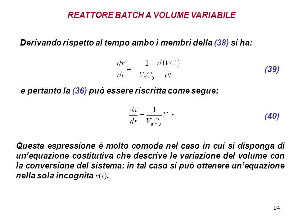 94 Derivando rispetto al tempo ambo i membri della (38) si ha: e pertanto la (36) può essere riscritta come segue: (39) (40) Questa espressione è molto comoda nel caso in cui si disponga di unequazione costitutiva che descrive le variazione del volume con la conversione del sistema: in tal caso si può ottenere unequazione nella sola incognita x(t).