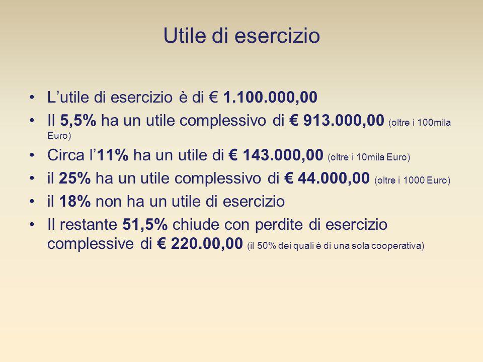 Utile di esercizio Lutile di esercizio è di 1.100.000,00 Il 5,5% ha un utile complessivo di 913.000,00 (oltre i 100mila Euro) Circa l11% ha un utile di 143.000,00 (oltre i 10mila Euro) il 25% ha un utile complessivo di 44.000,00 (oltre i 1000 Euro) il 18% non ha un utile di esercizio Il restante 51,5% chiude con perdite di esercizio complessive di 220.00,00 (il 50% dei quali è di una sola cooperativa)