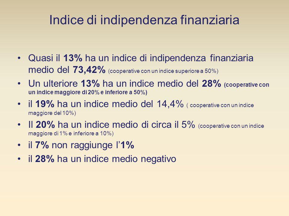 Quasi il 13% ha un indice di indipendenza finanziaria medio del 73,42% (cooperative con un indice superiore a 50%) Un ulteriore 13% ha un indice medio del 28% (cooperative con un indice maggiore di 20% e inferiore a 50%) il 19% ha un indice medio del 14,4% ( cooperative con un indice maggiore del 10%) Il 20% ha un indice medio di circa il 5% (cooperative con un indice maggiore di 1% e inferiore a 10%) il 7% non raggiunge l1% il 28% ha un indice medio negativo Indice di indipendenza finanziaria