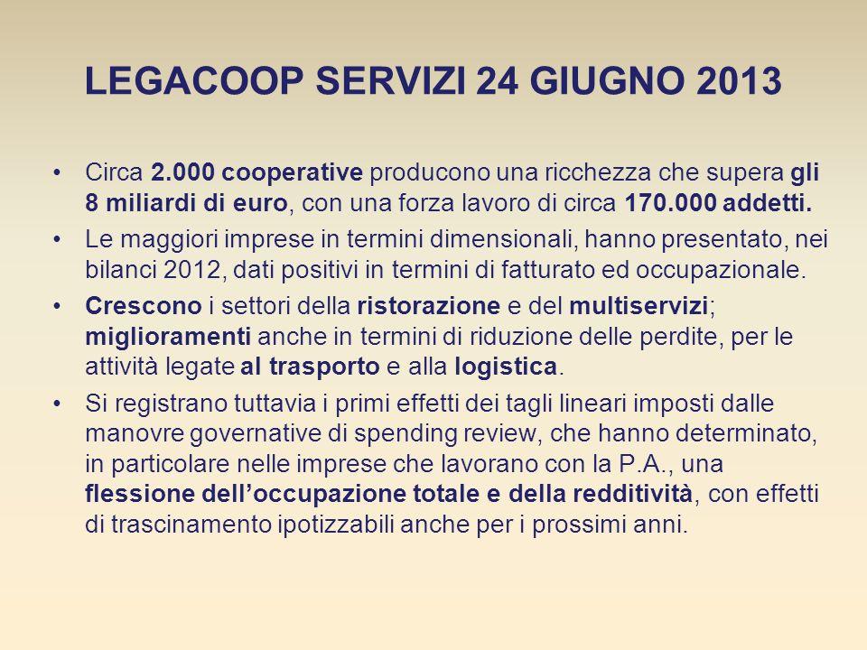 LEGACOOP SERVIZI 24 GIUGNO 2013 Circa 2.000 cooperative producono una ricchezza che supera gli 8 miliardi di euro, con una forza lavoro di circa 170.000 addetti.