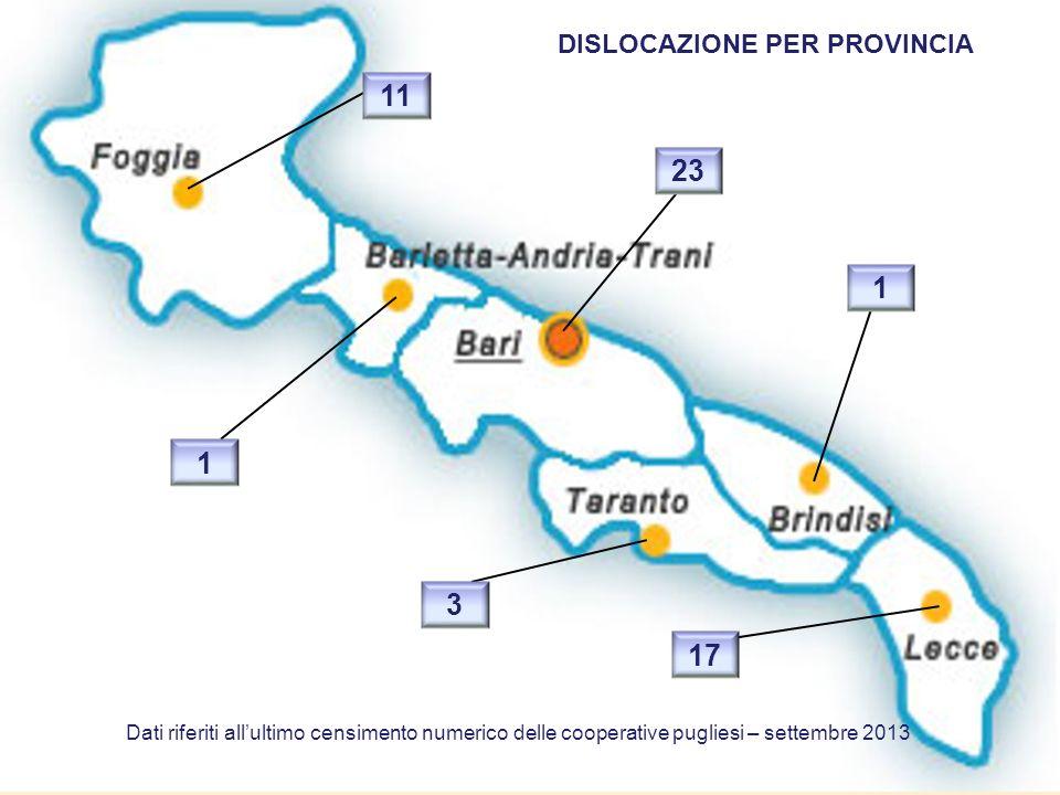DISLOCAZIONE PER PROVINCIA 23 1 17 3 11 1 Dati riferiti allultimo censimento numerico delle cooperative pugliesi – settembre 2013