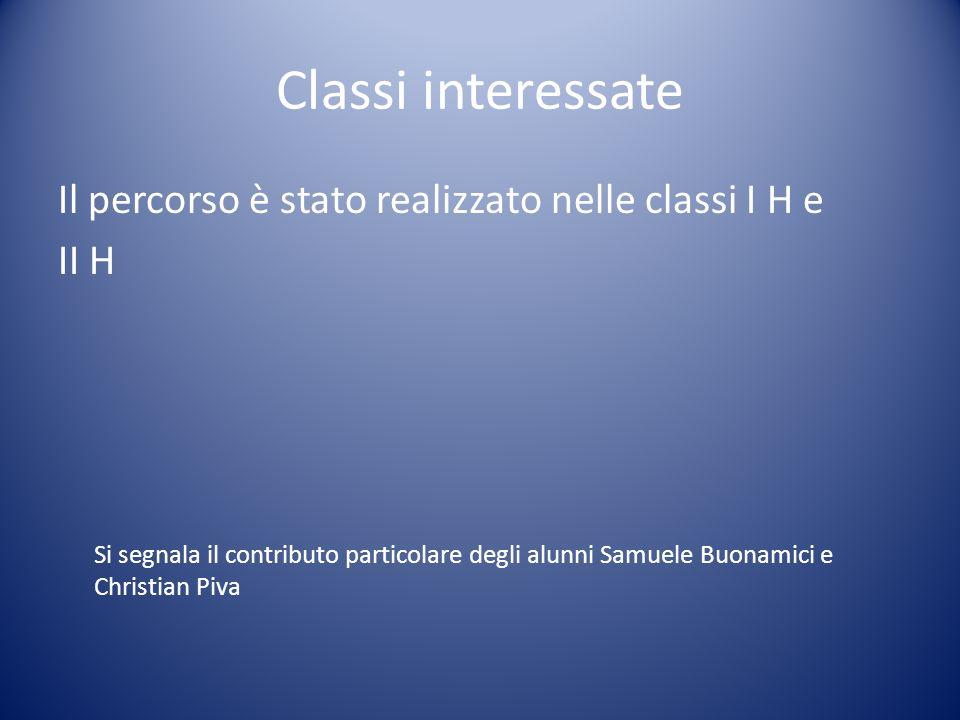 Classi interessate Il percorso è stato realizzato nelle classi I H e II H Si segnala il contributo particolare degli alunni Samuele Buonamici e Christ