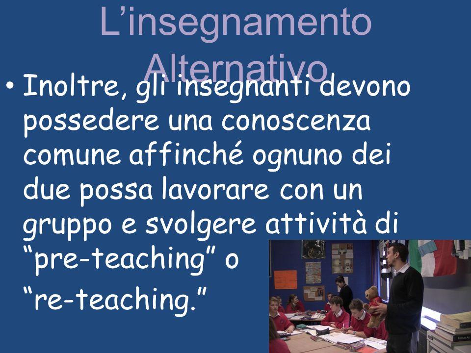 Linsegnamento Alternativo Inoltre, gli insegnanti devono possedere una conoscenza comune affinché ognuno dei due possa lavorare con un gruppo e svolge