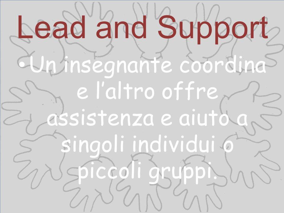 Lead and Support Un insegnante coordina e laltro offre assistenza e aiuto a singoli individui o piccoli gruppi.