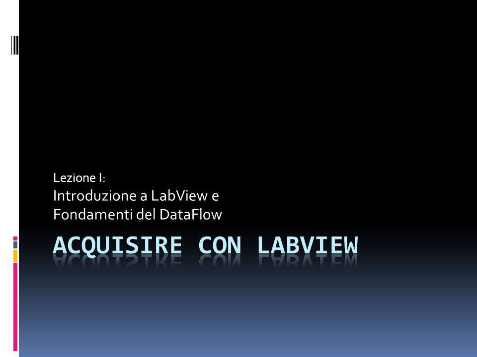 Introduzione a LabView LabView è una piattaforma specificatamente pensata per sviluppare sistemi di acquisizione, analisi e trattamento dati.
