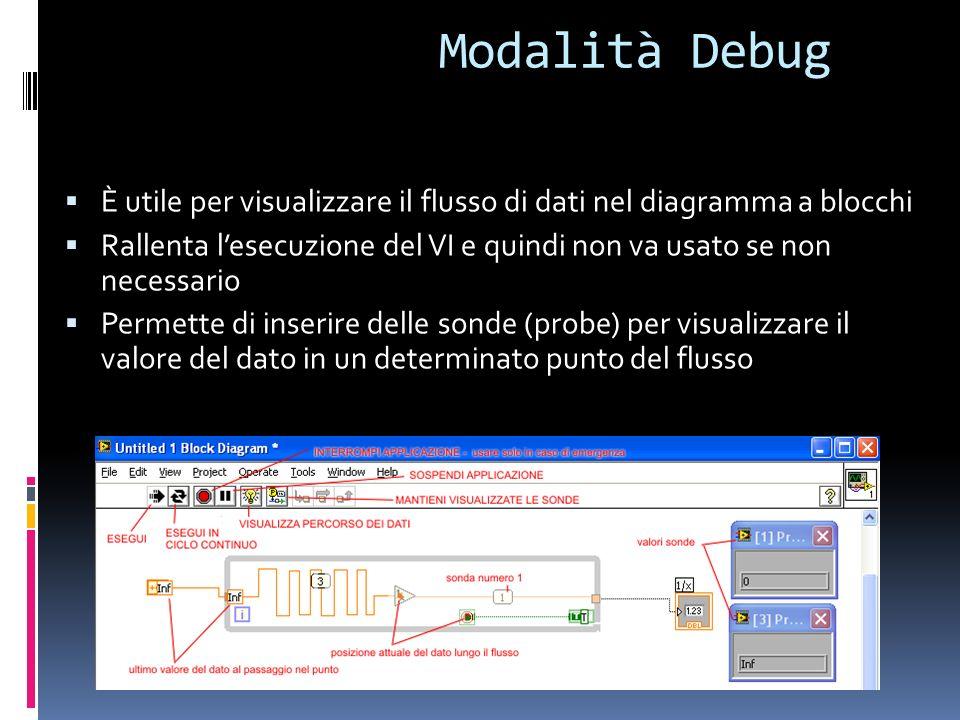 Modalità Debug È utile per visualizzare il flusso di dati nel diagramma a blocchi Rallenta lesecuzione del VI e quindi non va usato se non necessario