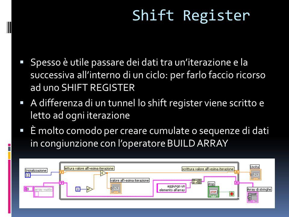 Shift Register Spesso è utile passare dei dati tra uniterazione e la successiva allinterno di un ciclo: per farlo faccio ricorso ad uno SHIFT REGISTER
