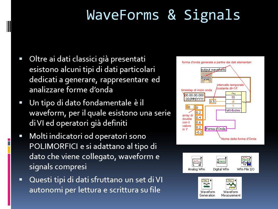 WaveForms & Signals Oltre ai dati classici già presentati esistono alcuni tipi di dati particolari dedicati a generare, rappresentare ed analizzare fo