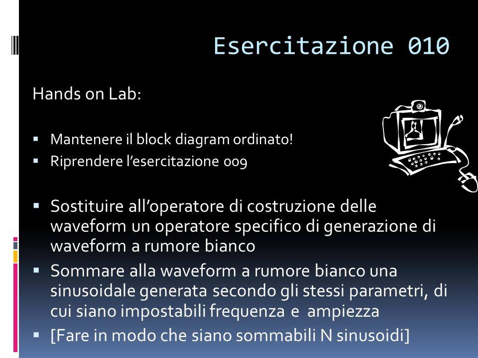 Esercitazione 010 Hands on Lab: Mantenere il block diagram ordinato! Riprendere lesercitazione 009 Sostituire alloperatore di costruzione delle wavefo
