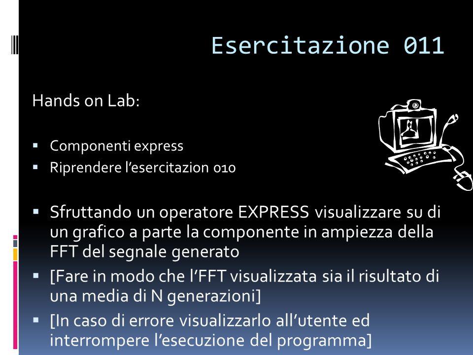Esercitazione 011 Hands on Lab: Componenti express Riprendere lesercitazion 010 Sfruttando un operatore EXPRESS visualizzare su di un grafico a parte