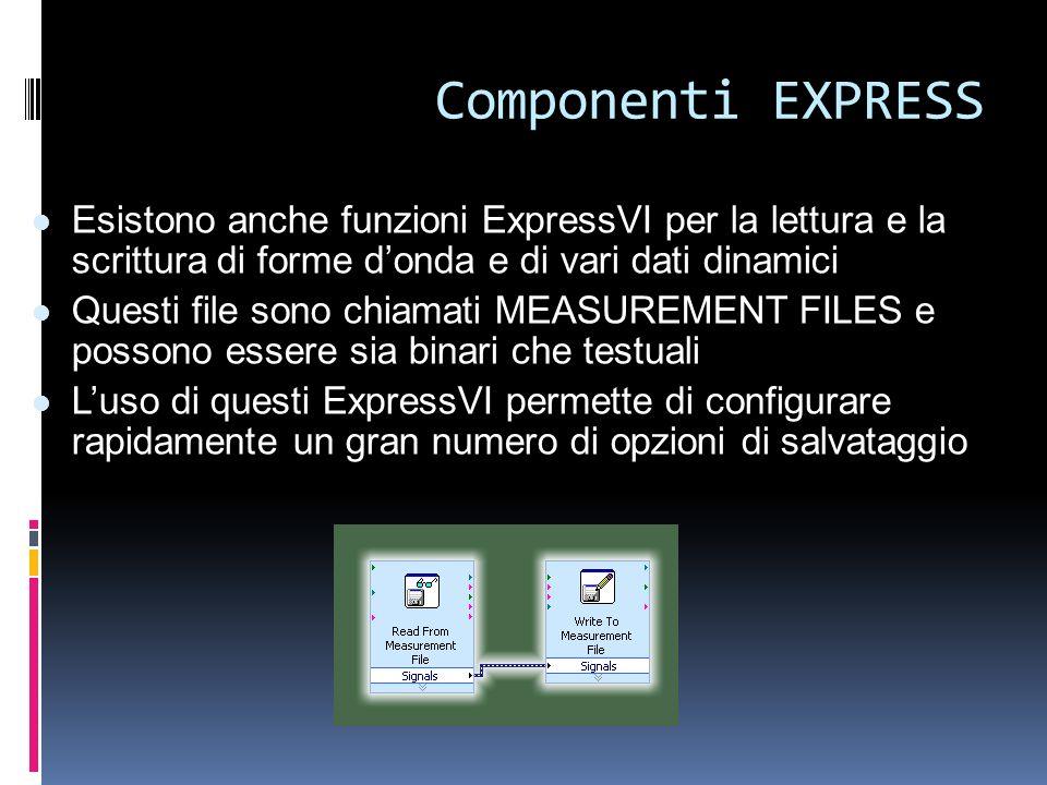 Componenti EXPRESS Esistono anche funzioni ExpressVI per la lettura e la scrittura di forme donda e di vari dati dinamici Questi file sono chiamati ME