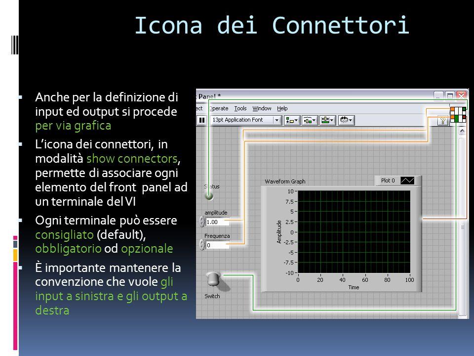 Icona dei Connettori Anche per la definizione di input ed output si procede per via grafica Licona dei connettori, in modalità show connectors, permet