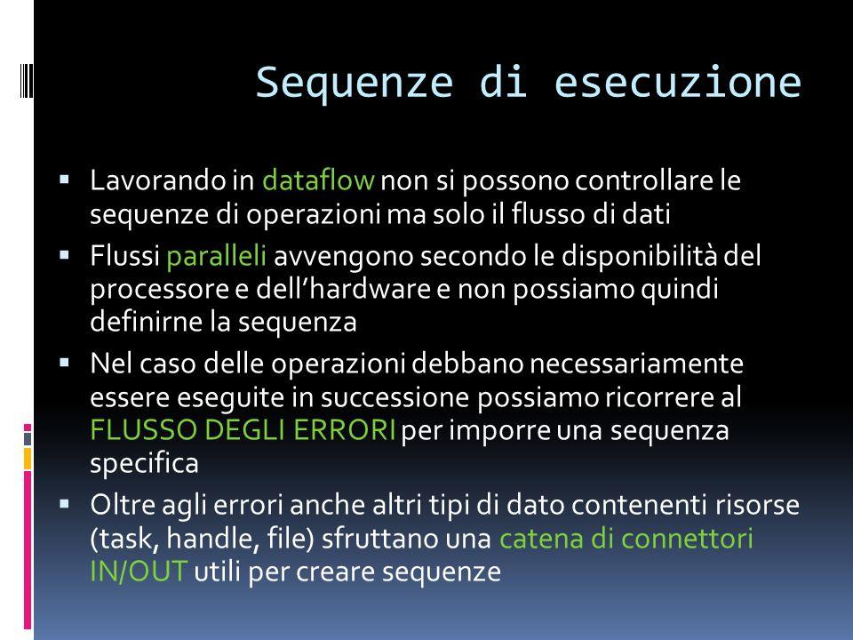 Sequenze di esecuzione Lavorando in dataflow non si possono controllare le sequenze di operazioni ma solo il flusso di dati Flussi paralleli avvengono