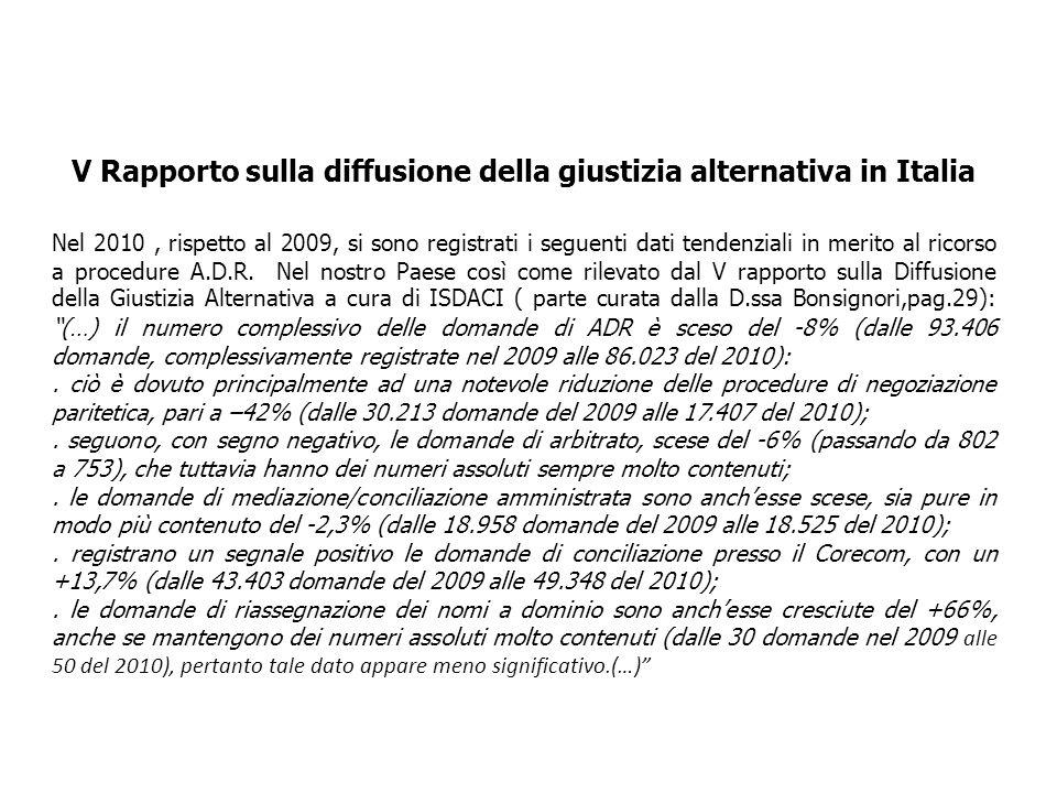 V Rapporto sulla diffusione della giustizia alternativa in Italia Nel 2010, rispetto al 2009, si sono registrati i seguenti dati tendenziali in merito