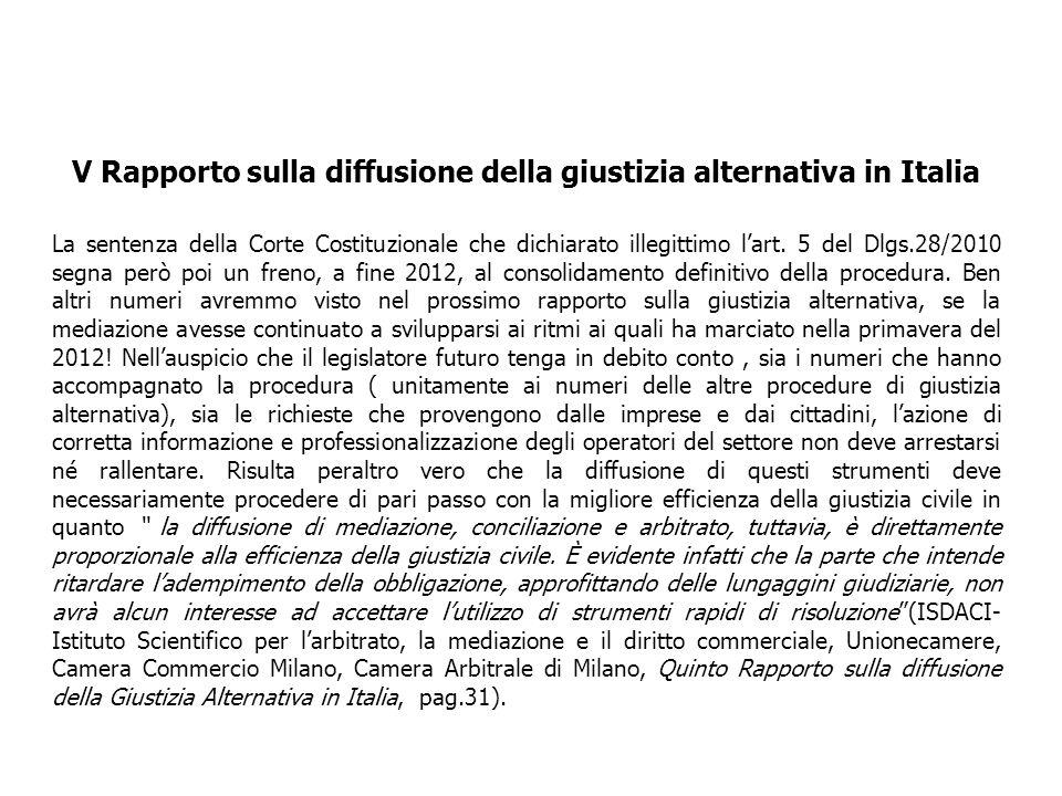 V Rapporto sulla diffusione della giustizia alternativa in Italia La sentenza della Corte Costituzionale che dichiarato illegittimo lart. 5 del Dlgs.2