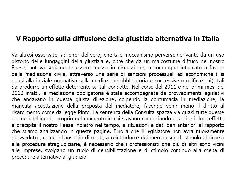 V Rapporto sulla diffusione della giustizia alternativa in Italia Va altresì osservato, ad onor del vero, che tale meccanismo perverso,derivante da un