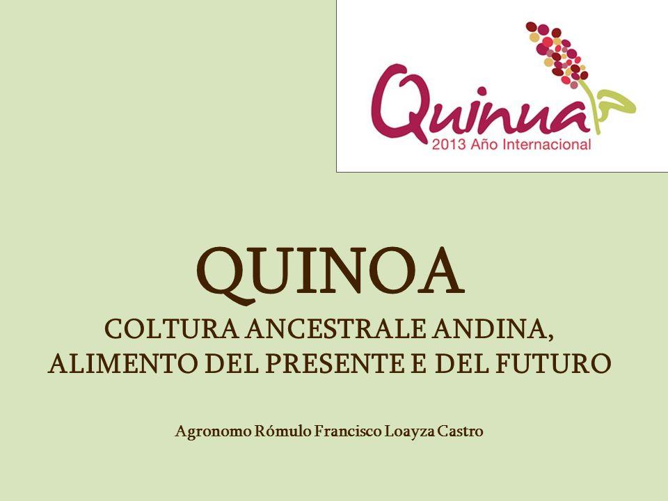 LA QUINOA Breve storia della quinoa Caratteristiche generali Caratteristiche botaniche Caratteristiche nutrizionali Caratteristiche agro climatiche La quinoa in Europa Potenziale agro industriale