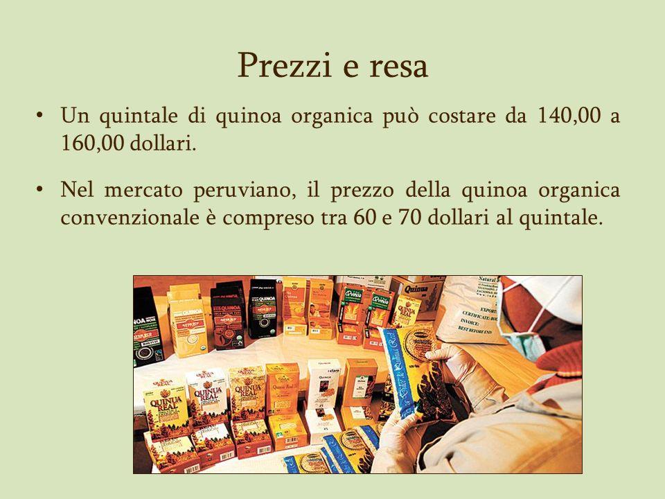 Prezzi e resa Un quintale di quinoa organica può costare da 140,00 a 160,00 dollari. Nel mercato peruviano, il prezzo della quinoa organica convenzion
