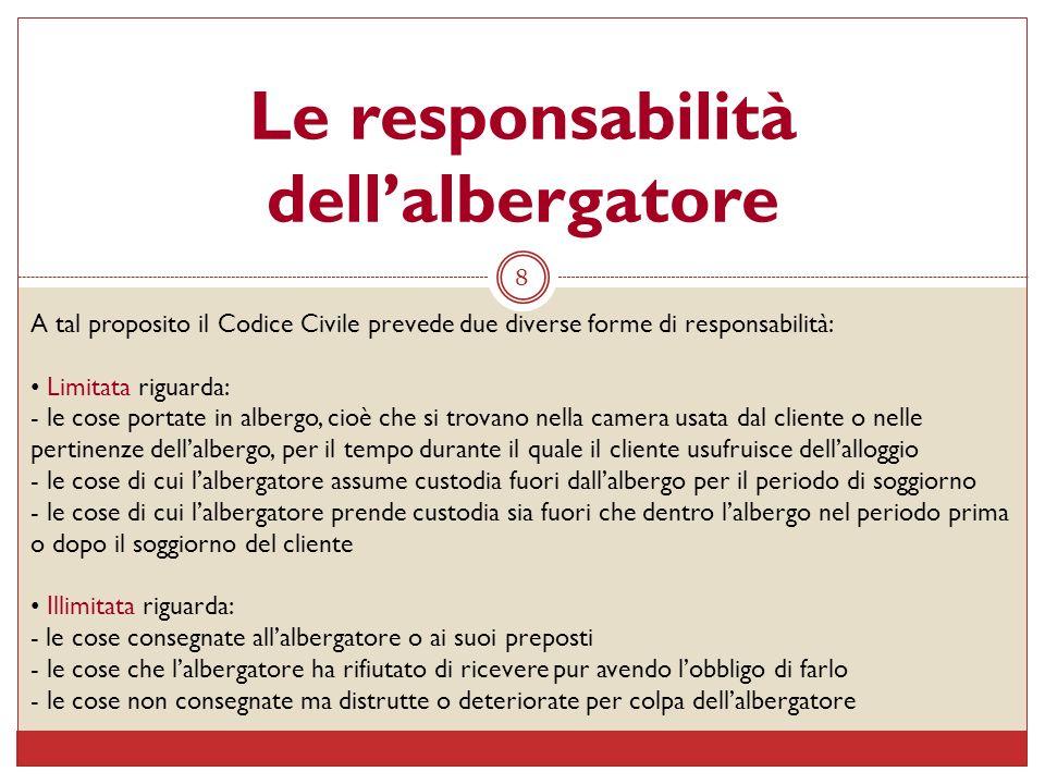 8 Le responsabilità dellalbergatore A tal proposito il Codice Civile prevede due diverse forme di responsabilità: Limitata riguarda: - le cose portate