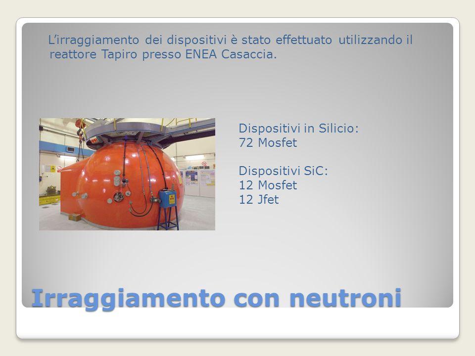 Irraggiamento con neutroni Lirraggiamento dei dispositivi è stato effettuato utilizzando il reattore Tapiro presso ENEA Casaccia.