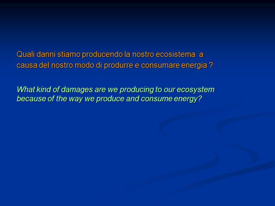 Quali danni stiamo producendo la nostro ecosistema a causa del nostro modo di produrre e consumare energia ? What kind of damages are we producing to