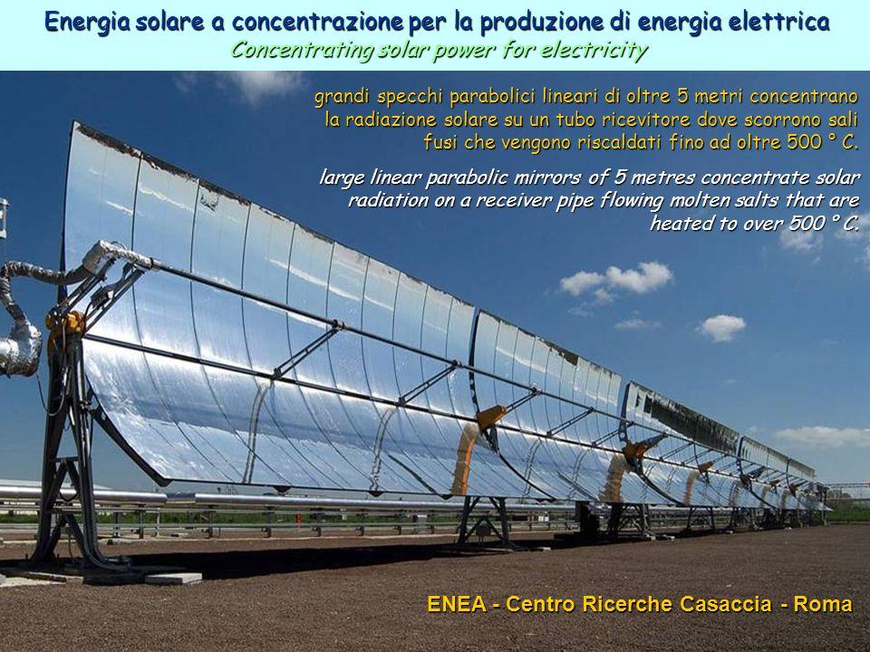 38ENEA - educarsi al futuro ENEA - Centro Ricerche Casaccia - Roma grandi specchi parabolici lineari di oltre 5 metri concentrano la radiazione solare