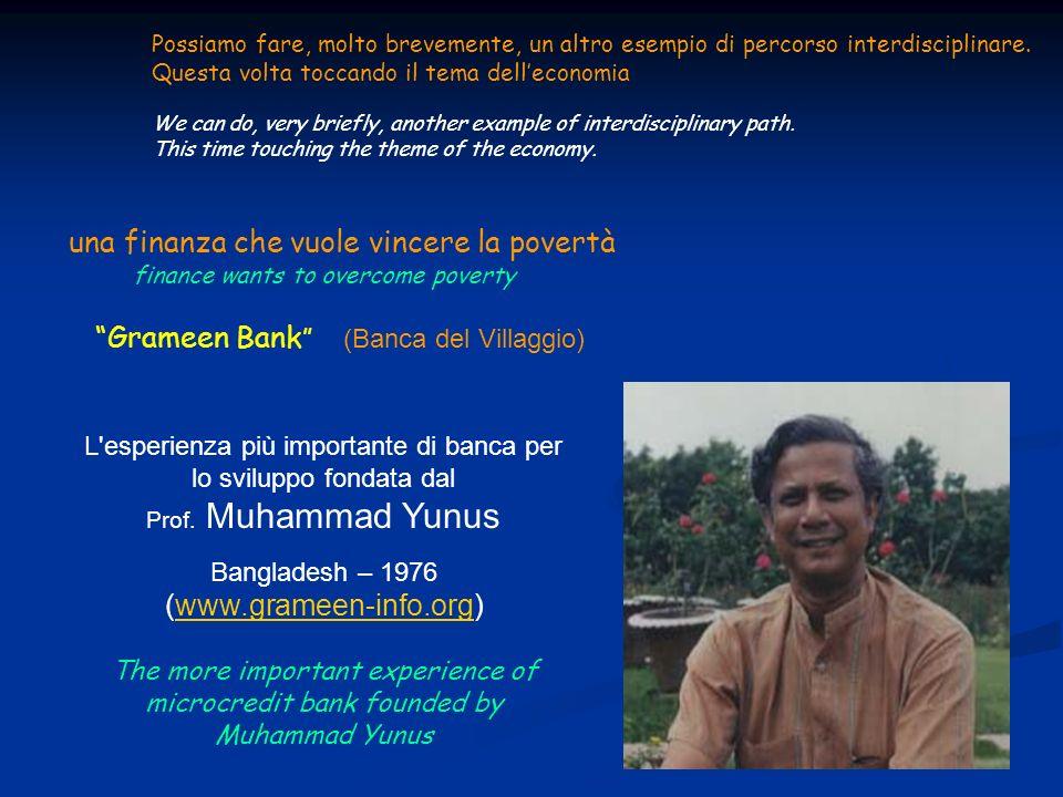 una finanza che vuole vincere la povertà finance wants to overcome poverty Grameen Bank (Banca del Villaggio) L'esperienza più importante di banca per