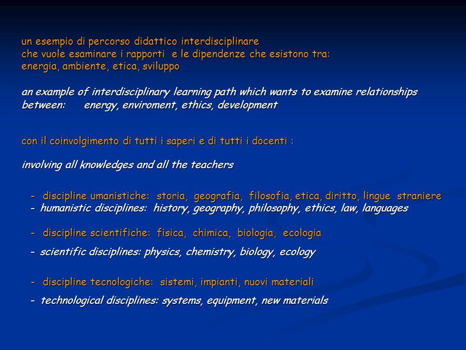 un esempio di percorso didattico interdisciplinare che vuole esaminare i rapporti e le dipendenze che esistono tra: energia, ambiente, etica, sviluppo