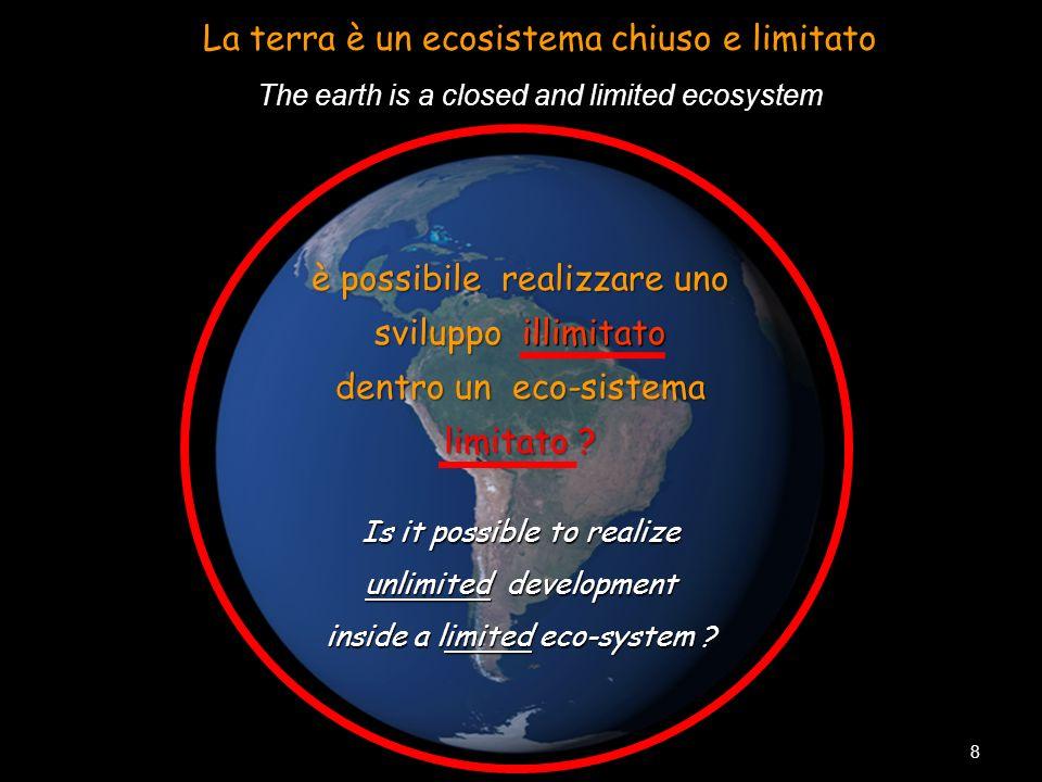 The earth is a closed and limited ecosystem La terra è un ecosistema chiuso e limitato The earth is a closed and limited ecosystem 8 è possibile reali